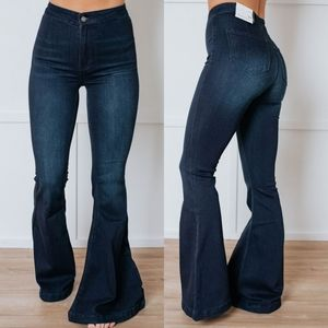 Dark Wash Denim Jeans Wide Leg Bell Bottom Pant